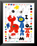 Personnage et Oiseaux Print by Joan Miró