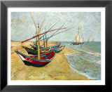 Vissersboten op het strand bij Saints-Maries, ca. 1888 Poster van Vincent van Gogh