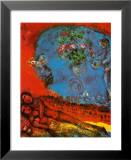 Liebespaar vor rotem Hintergrund Kunstdrucke von Marc Chagall