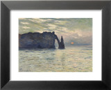 The Cliff, Etretat, Sunset, 1883 Posters av Claude Monet