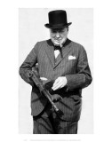 Winston Churchill with Tommy Gun Art