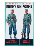 Spot at Sight Chart No. 2, Enemy Uniforms, German Parachutist, German Soldier Pôsters