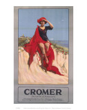 Cromer Girl with Red Material Posters