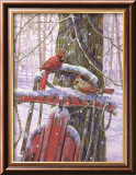 Red Sled with Cardinals Art by Donna Race
