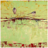Birds on Horizon in Green Poster by Janice Sugg