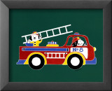 Dogs on Firetruck II Poster by Shelly Rasche