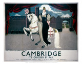 Queen Elizabeth on Horse Visiting Cambridge Posters