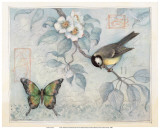 Blue Bird and Butterfly Affiches par Susan Winget