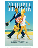 Portsmouth and Southsea Go by Train Print