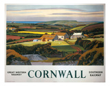 Cornwall Landscape and Cottage Poster