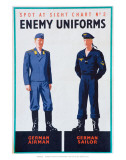 Spot at Sight Chart No. 2, Enemy Uniforms, German Airman, German Sailor Posters