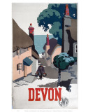 Devon GWR Old Man Walking Up Street Print