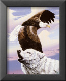 Eagle in Flight with Wolf Art by Gary Ampel