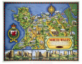 North Wales Map Prints