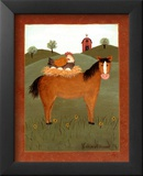 Horse with Hen Poster par Valerie Wenk