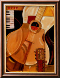 Abstrakte Gitarre (Miniatur) Poster von Paul Brent