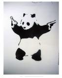 Pandémonium: pochoir noir et blanc, avec panda et revolvers Reproduction d'artUnknown