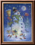 Snowman's Feathered Fun Posters by Donna Race
