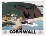 Cornwall Cliff and Harbour Print