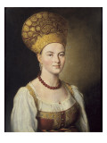 Portrait of Woman in Russian Costume Premium Giclee Print by Ivan Petrovich Argunov