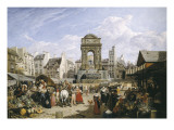 Market and Fountain of the Innocents Prints by John James Chalon