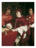 Portrait of Leo X with Cardinal Luigi De' Rossi and Giulio De Medici Giclee Print by  Raphael