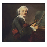Young Man with a Violin, or Portrait of Charles Theodose Godefroy Kunstdrucke von Jean-Baptiste Simeon Chardin