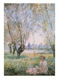 Mujer sentada bajo los sauces Láminas por Claude Monet