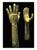 Ceremonial Gold Hands with Embossed Decoration Prints