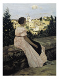 The Pink Dress, or View of Castelnau-Le-Lez Posters by Frederic Bazille