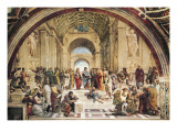 Fresco, De School van Athene, in zaal Stanza Della Segnatura Poster van Raphael,