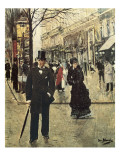 On the Boulevard Giclee Print by Jean Beraud