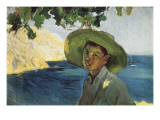 Boy with Hat Giclee Print by Joaquin Sorolla y Bastida