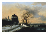 Winter Scene with Skaters on a River Giclee Print by Alexis De Leeuw