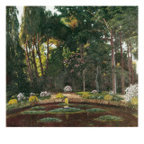 Garden (Arbúcies) Giclée-Druck von Santiago Rusinol