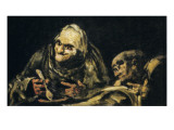 Two Old Men Eating Giclee Print by Francisco de Goya