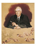 "Study of Franklin Delano Roosevelt for the Painting ""Big Three at Yalta"" Giclee Print by Douglas Chandor"