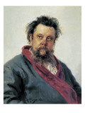 Portrait of Modest Mussorgsky Print by Ilya Efimovich Repin