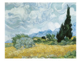 A Wheatfiled, with Cypresses Reproduction proc&#233;d&#233; gicl&#233;e par Vincent van Gogh