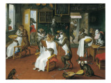 Barber's Shop with Monkeys and Cats Premium Giclee Print by Abraham Teniers