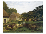 A Farmyard in Normandy Posters por Claude Monet