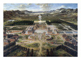 View of Chateau and Gardens of Versailles, Taken from Paris Avenue Giclee Print by Pierre Patel
