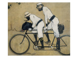 Ramon Casas and Pere Romeu on a Tandem Giclée-Druck von Ramon Casas Carbo