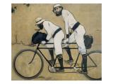 Ramon Casas och Pere Romeu på en tandemcykel Planscher av Ramon Casas Carbo