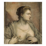 Portrait of a Woman Revealing Her Breasts Posters by Jacopo Robusti Tintoretto
