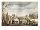 Winter Landscape with Skaters Giclee Print by Joost Cornelisz Droochsloot
