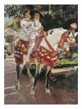 Portraits of Elena and Maria Wearing Old Valencian Dresses Giclee Print by Joaquín Sorolla y Bastida