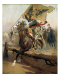 Hussar with the Austrian Flag Giclee Print by Jean-Baptiste Edouard Detaille