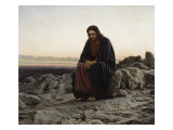Christ in the Wilderness Premium Giclee Print by Ivan Nikolaevich Kramskoi