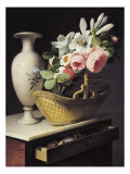Bouquet of Lilies and Roses in a Basket Posters by Antoine Berjon
